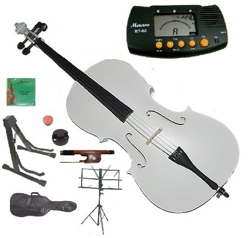 Merano 3/4 Size White Student Cello with Bag and Bow+2 Sets of Strings+Cello Stand+Black Music Stand+Metro Tuner+Rosin+Mute