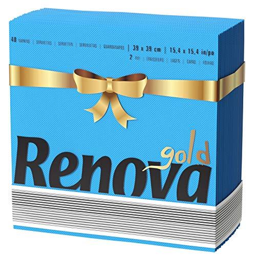 Renova Servilletas Gold Azules 2 Capas - 40 servilletas Tamaño Grande