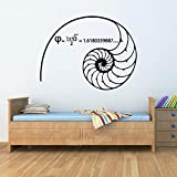 Science-Mathematics Wall Decals Fibonacci Spiral Golden Ratio 1.618... Math Stickers Vinyl Art Bedroom Classroom Wall Decor G992