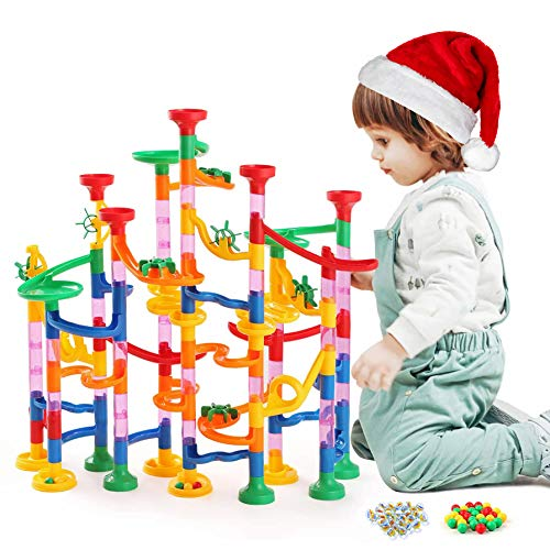 Kuopry Marble Runs Set for Kids - 163 Pcs Construction Building Blocks Toys, Marble Race Track for Kid, Maze Game, STEM Learning Toy for Boys Girls (30Pcs Glass Marbles for Free)