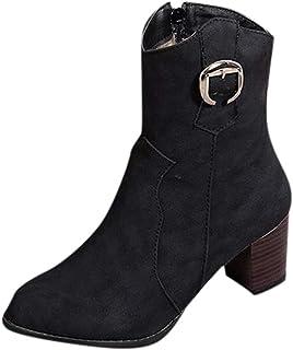 manadlian Bottes et Bottines Femmes Escarpins Bottines de Cheville pour Femmes Carrées Chaussures Bout Rond Bottes Courtes...