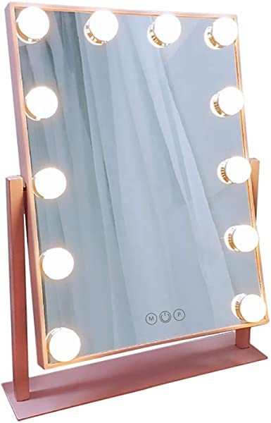 FENCHILIN Lighted Makeup Mirror Hollywood Mirror Vanity Makeup Mirror With Light Smart Touch Control 3Colors Dimable Light Detachable 10X Magnification 360 Rotation Rosegold