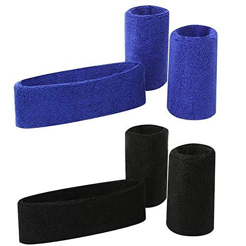 Hebon Conjunto de banda de algodón para el sudor, muñequeras para hombres y mujeres, fitness, correr, yoga, artes marciales, baile, 2 juegos