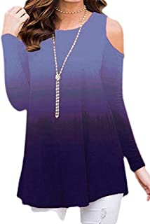Macondoo Women's Cold Shoulder Top Tees Long Sleeve Ombre Casual T-Shirts