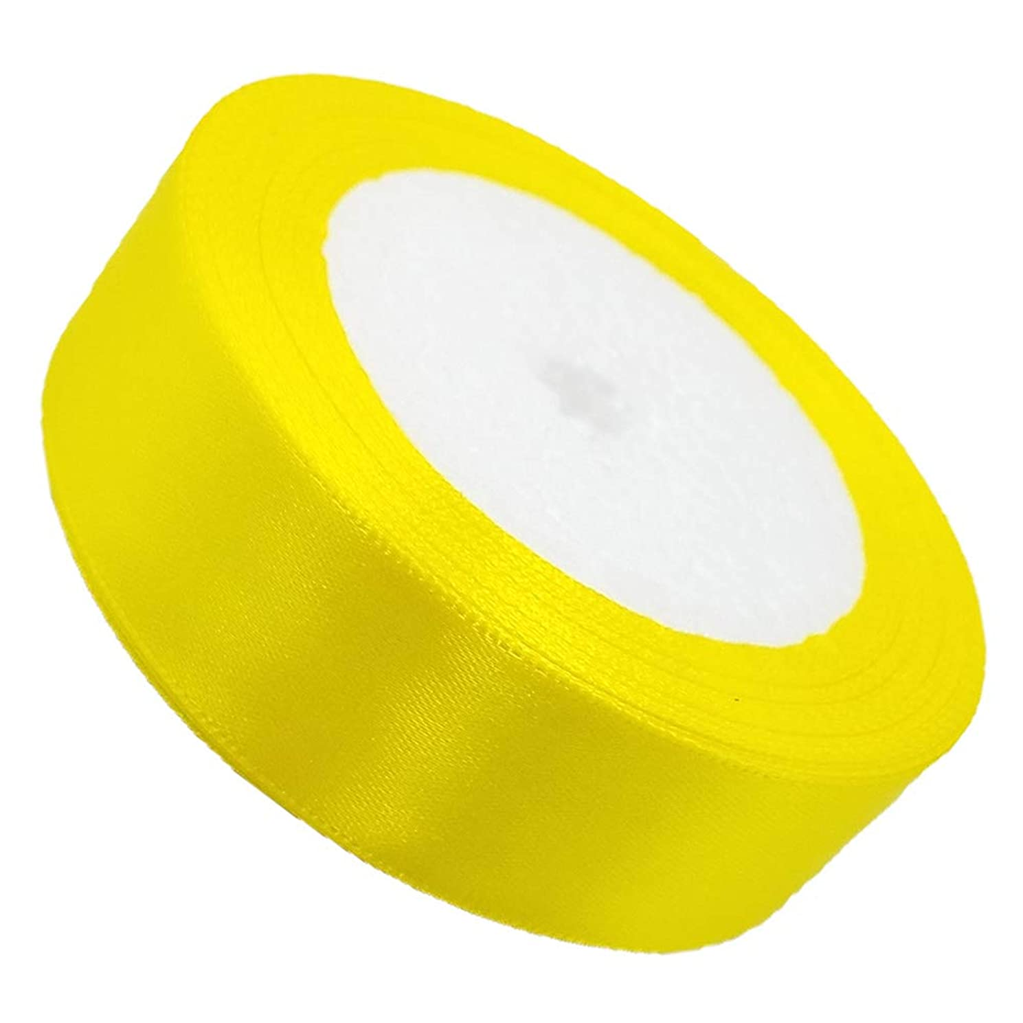 Tianying Solid Satin Ribbon Roll Farbic Double Face for Gift Wrapping Partty Wedding (Yellow, Width 1