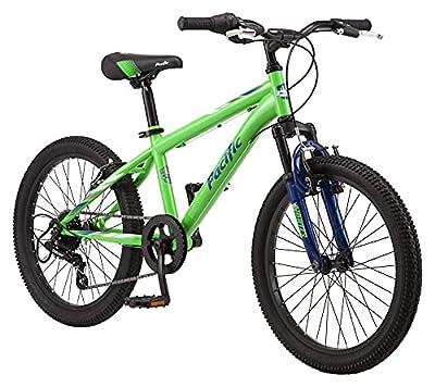 Pacific Cavern Boys Mountain Bike, 20-Inch Wheels, 7-Speed Twister Shifters, 12-Inch Steel Frame, Green