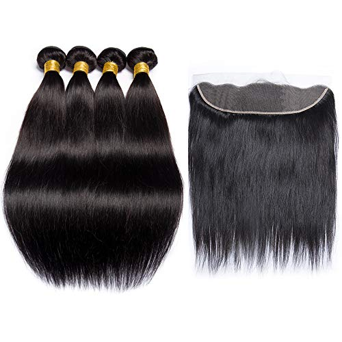 Maxine Hair 9A Grade Brazilian Hair Straight Bundles with Ear to Ear Lace Frontal Closure Brazilian 100% Unprocessed Virgin Hair Frontal with Baby Hai