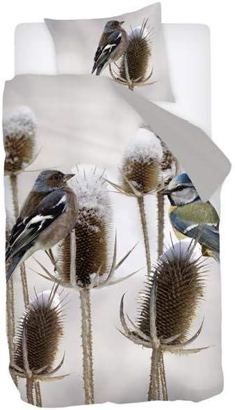 140x200//220 cm Gris sat/én de algod/ón Juego de Cama Snoozing Bluebird