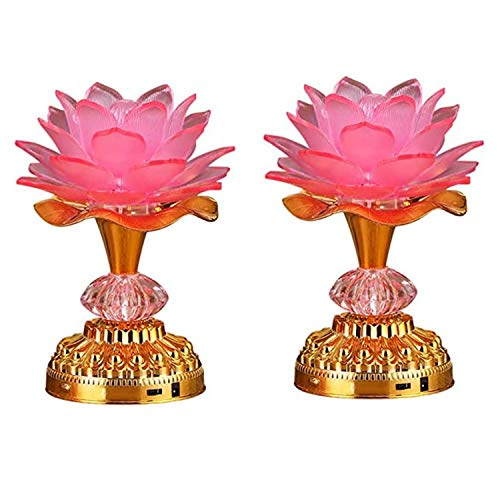 LACGO Pack of 2 LED Lotus Buddhist Lights, 7 Color-Changing Gradient Buddha Lotus Lamps, 2 in 1 USB or Battery-Operated Buddhist Worship Prayer Faith Supply Things(3.3''W/5.5''H, Pink)