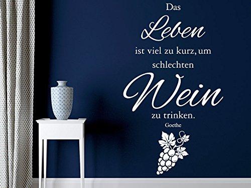 Klebeheld® Wandtattoo Das Leben ist viel zu kurz um schlechten Wein zu Trinken. (Farbe schwarz/Größe 35x60cm)