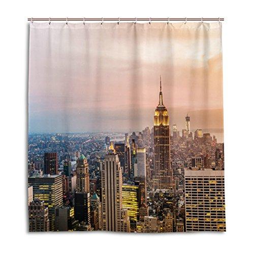 jstel Decor Dusche Vorhang New York City Wolkenkratzer Sonnenuntergang Muster Print 100prozent Polyester Stoff 167,6x 182,9cm für Home Badezimmer Deko Dusche Bad Gardinen mit Kunststoff Haken