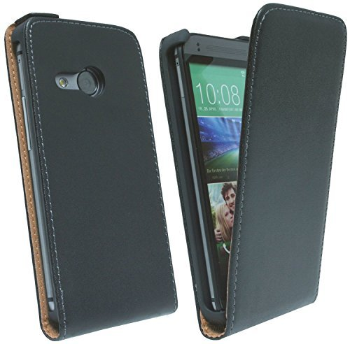 ENERGMiX Klapptasche Schutztasche kompatibel mit HTC ONE M8 Mini in Schwarz Tasche Hülle