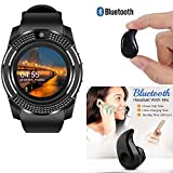Enraciner [Buy Watch FREE Headset] V8 Sports Smartwatch Bluetooth with Camera Message Push Touch Screen Pedometer Sedentary Reminder Sleep Monitor Instant Notification Anti-Lost Smartwatch for Android Phone