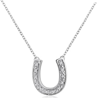 1/10ct TW Diamond Horseshoe Necklace in Sterling Silver