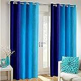 Shree Ram Decor Polyester Blend Long Crush Eyelet Door 7 ft Curtains (Aqua Blue) Set of 2