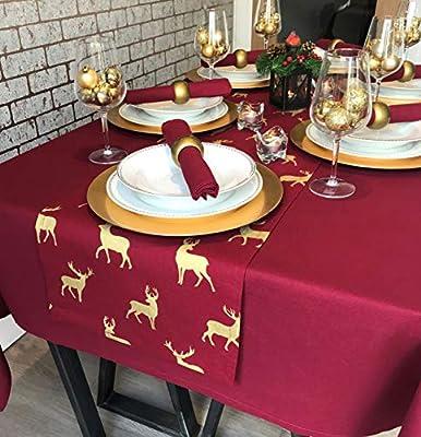 Plain Wine Christmas Rectangular Tablecloth 6 Seater