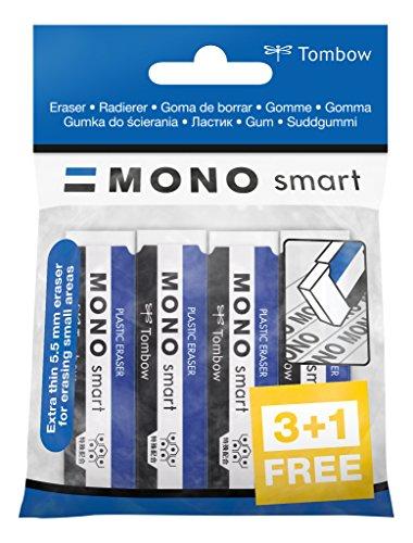 Tombow - MONO Smart | Blister 3 + 1 de Goma de Borrar Extra-Fina para uso Escolar y Profesional