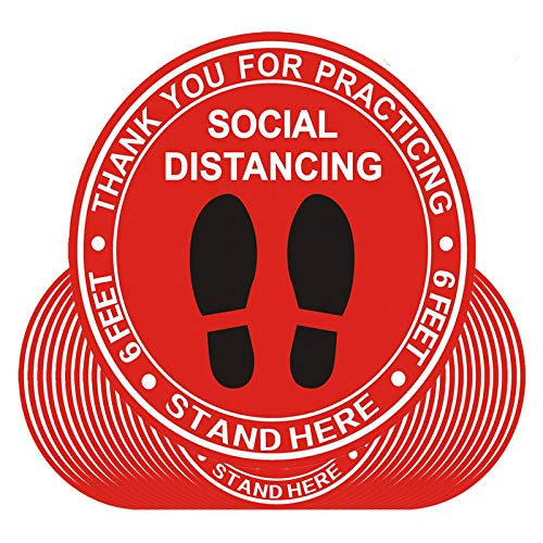 Social Distancing Floor Decal Stickers - 30 Pack Stand Decal- 8' Safety Floor Sign Marker - Stand Here Sign 6 Feet Safety Distance Apart Decal - Specialized Sticker for Crowd Control Guidance (Red)