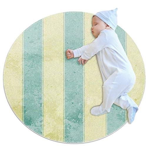 HDFGD Alfombra redonda para niños, antideslizante, redonda, lavable, rayas amarillas y azules