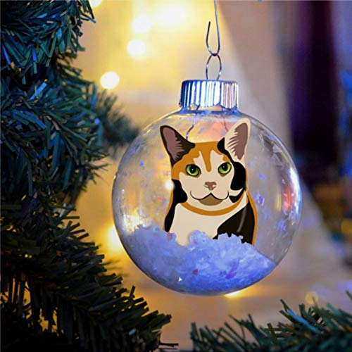 DONL9BAUER Calico Kitty Cat Acrylic Christmas Ball Ornament,Bulb Dog Christmas Bauble Tree Ornament with presents for Church Members,Holiday,Family & Friends.