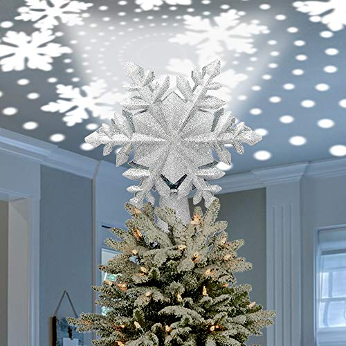 Celebrate A Holiday Christmas Tree Snowflake Lighted Tree Topper Projector - Beautiful LED Rotating Snowflakes for Christmas Decorations - 3D Glitter Snowflake Tree Light - UL Listed for Safety