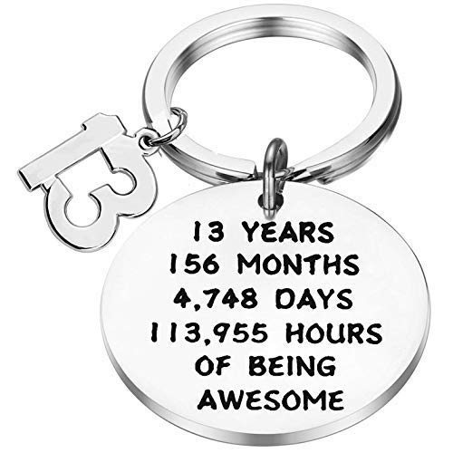 Birthday Gift Happy Birthday Keychain, 10th 12th 13th 16th 30th, Stainless Steel Birthday Key Ring Gift, for Women, Men, Kids, Friends and Family (13 year old keychain)