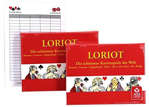 Ludomax Loriot Spielkarten Rommé, Doppelpack von Ass im Set Block