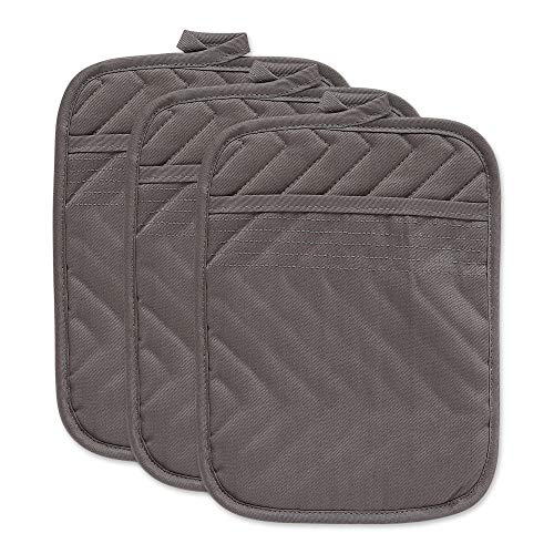 DII Cotton Quilted Pocket Pot Holder, 7x9 Set of 3, Heat Resistant Machine Washable Kitchen Trivet Hot Pads for Cooking & Baking- Gray