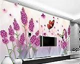 Csyhl Fond d'écran personnalisé HD fleur de lavande riche salon TV fond mur fond...