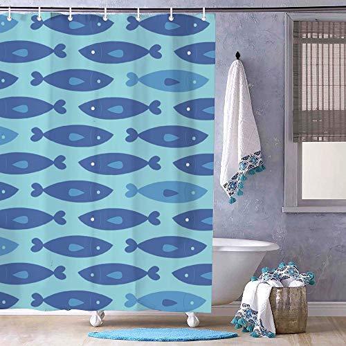 Dom576son Duschvorhang, 182,9 x 182,9 cm, Ozeanblau Muster Design Fischfamilie Badezimmer Dekor, Badezimmervorhang
