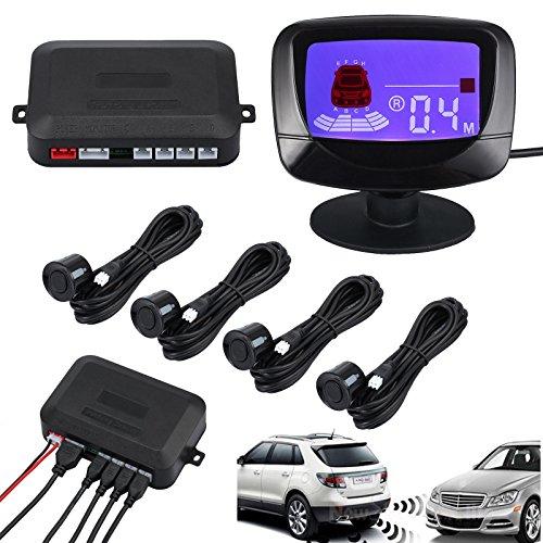"""Kit Parcheggio Posteriore da Auto con 4 Sensori 2.5"""" LCD Radar Retromarcia con Cicalino Allarme per Parcheggio Sicurezza"""