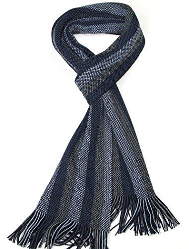 LOVARZI Hombres Bufanda a rayas Azul - Bufandas de invierno para hombres - Regalos para hombres