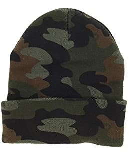 DealStock Plain Knit Cap Cold Winter Cuff Beanie (40+ Multi Color Available) (Woodland Camo)