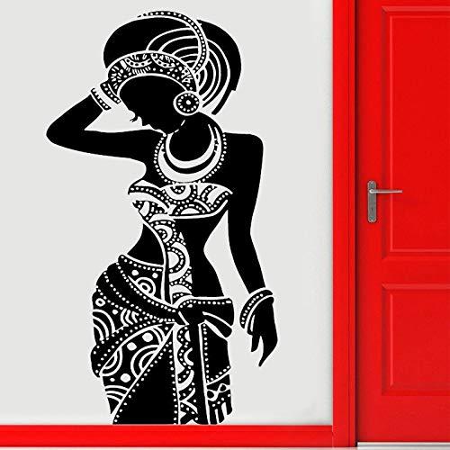 wZUN 2psc Stammes afrikanische Frau Aufkleber schöne Schwarze Mädchen Kleid Wandaufkleber 42X75cm