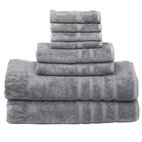 Mosobam 700 GSM Luxury Bamboo 8pc Extra Large Grey Bathroom Set, 2 Bath Towels Sheets 35X70 2 Hand Towels 16X30 4 Face Washcloths 13X13, Bulk Prime Turkish Gray Towel Sets, Quick Dry