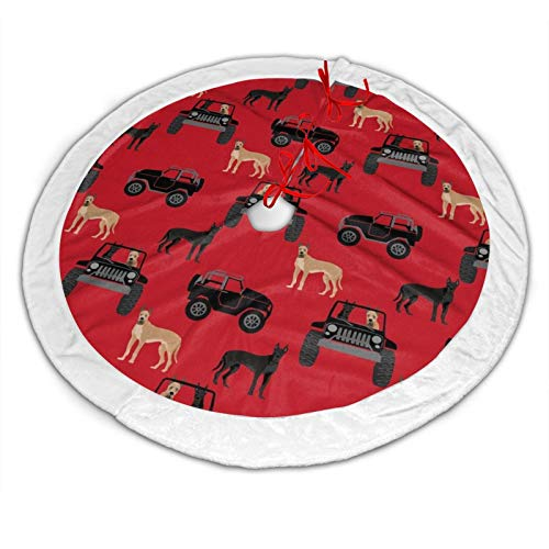 antcreptson Great Dane in Jeeps Cute Dogs Black and Red 48 Inches Christmas Tree Skirt for Party Holiday Decorations Xmas Ornaments