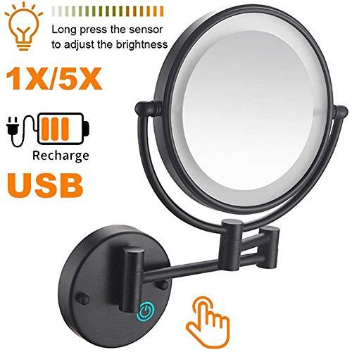 """CHHD 8""""Wand-Make-up-Spiegel mit Lichtern LED 5X Wand-Make-up-Kosmetikspiegel Doppelseitig, Touch-Taste und einstellbares Licht, Rasier-Make-up im Schlafzimmer oder Badezimmer USB RechargeBlack"""