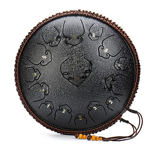 JFZS Handpan Tongue Drum 15 Notes 14 Zoll Tank Drum Steel Percussion Drum Instrument Mit Reisetasche,Black