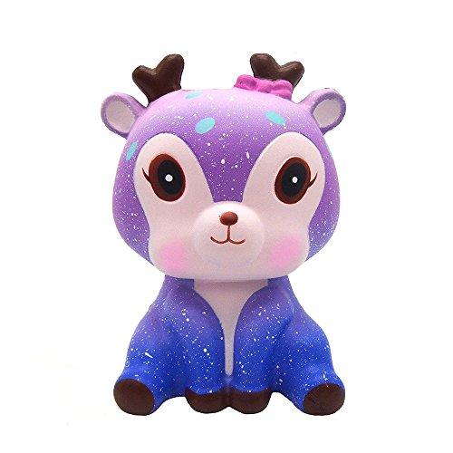 mi ji Squishy Kawaii,Squishy Ciervo,Squishy Doll de Diseño Animado Perfumada Lenta Levantar Exquisito Niño Juguete antiestrés (Galaxia)