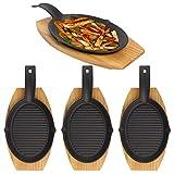 Mr. Bar-B-Q (8 Piece) Fajita Skillet Set With Wood Base Kitchen Accessories Cast Iron Skillet...