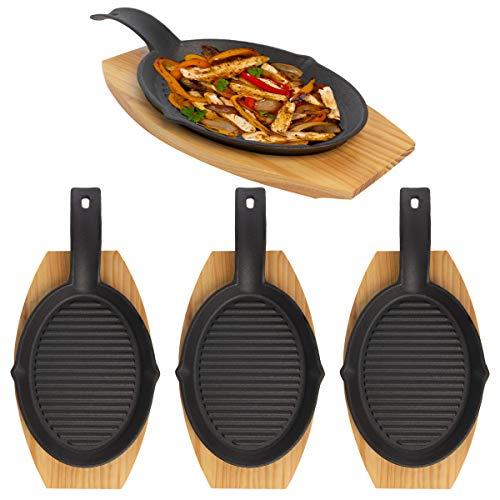 Mr. Bar-B-Q (8 Piece) Fajita Skillet Set With Wood Base Kitchen Accessories Cast Iron Skillet Cooking Set