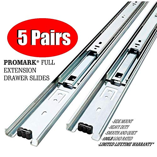 Promark Full Extension Drawer Slide (22 Inches-5 Pack)