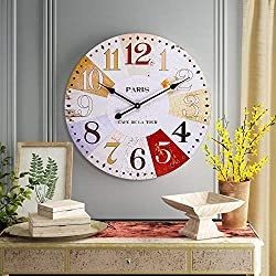 SkyNature Rustic Wall Clock, Farmhouse Wooden Decorative Clock with Colorful Arabic Numerals, Indoor Silent Non-Ticking Battery Operated Clock for Living Room, Bedroom, Kitchen & Den - 24 Inch