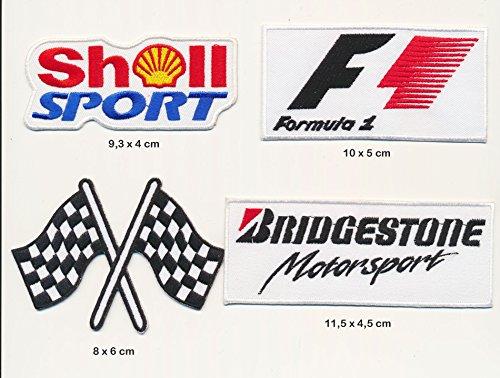 Bridgestone Shell Formel 1 F1 Aufnäher Aufbügler Patch 4 Stück TURBOVERSAND