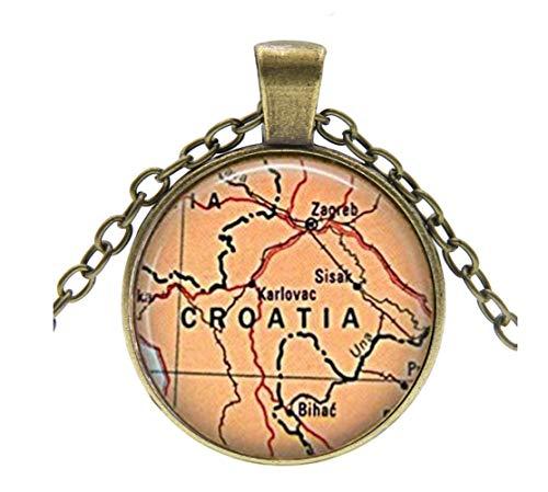 Kroatien Karte Halskette, Kroatien Karte Anhänger, Kroatien Karte Charme,