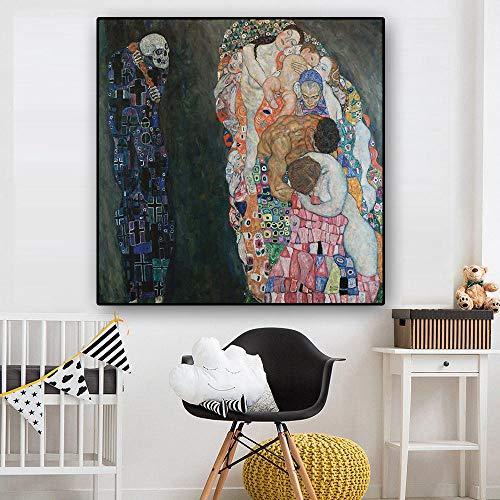 QianLei Gustav Klimt Tod und Leben Reproduktion Ölgemälde auf Leinwand Skandinavische Kunst Poster und Drucke Wandbild für Wohnzimmer-40x40 cm Ohne Rahmen