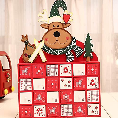 J.Mmiyi Calendario De Adviento Madera Decoración Navidad con 24 Cajoncitos Decoracion para Mesa Chimenea Ventana,C