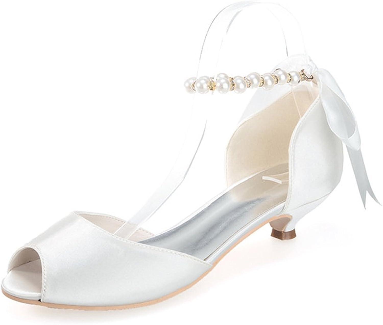 Elobaby Damen Hochzeitsschuhe Pearl Ribbon Peep Toe Brautkleid Kleid Kleid Kleid Flache Schuhe Low Satin Größe Party  ecaaf7