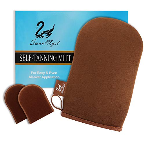 SwanMyst Self Tanning Mitt Applicator, Double Side Microfiber Sunless Tanner Glove for Flawless and...