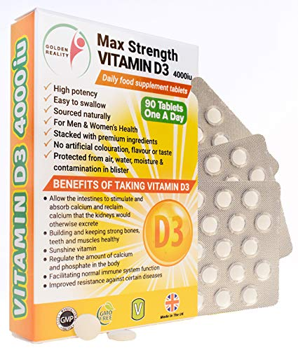 Max Strength Vitamin D3 4000iu Supplements | Sunshine Vitamin | Unisex Supplement | Bones & Teeth | Immune | Regulate Calcium & Phosphate | Made from Quality Natural Ingredients | Made in The UK